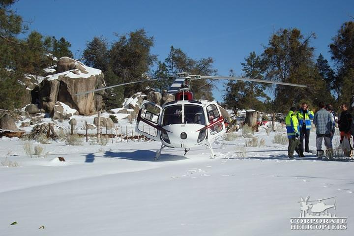 Snow rescue helicopter