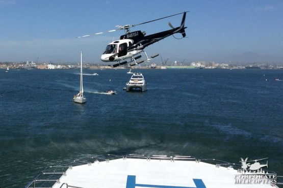 Corporate Helicopters' story helicopter landing on Yacht in San Diego Bay,