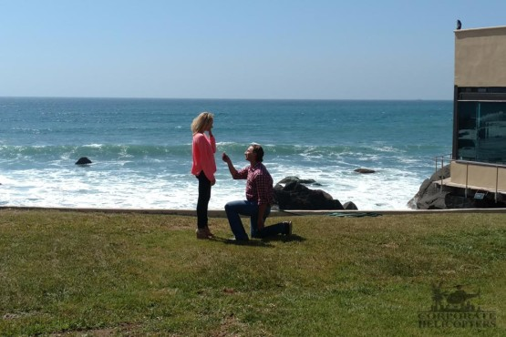 Mike popping the question at Punta Morro Resort in Ensenada, Mexico.
