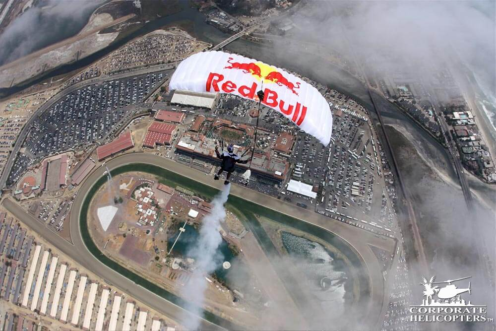 Red Bull Skydivers over Del Mar.
