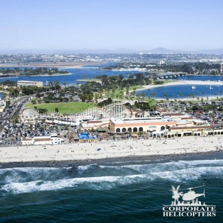Aerial view of Belmont Park in Mission Beach.