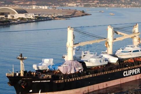 Ship sails through San Diego bay.