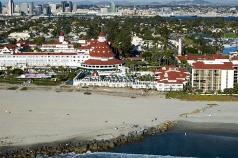 Oceanfront aerial view of the Hotel Del.