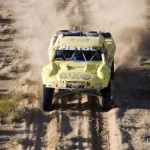 Aerial photography of off-road racing in Mexico.