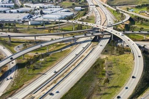 Freeway interchange in San Diego.