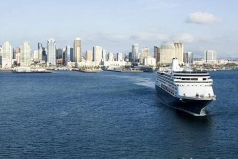 Cruise ship departing San Diego Bay.