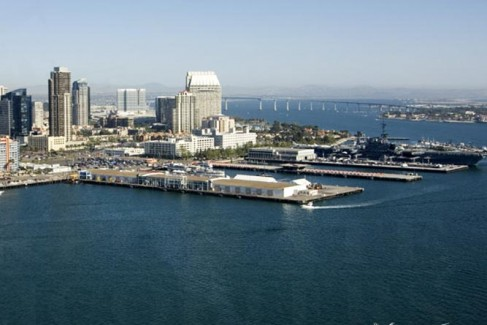 San Diego bay, featuring most of the skyline features.