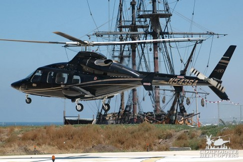 Bell 430 in front of a familiar ship...