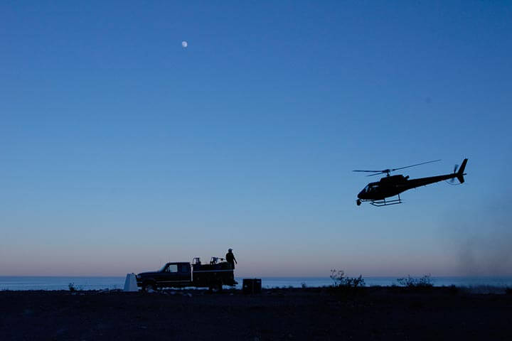 Fueling truck and support helicopter for the Baja 1000