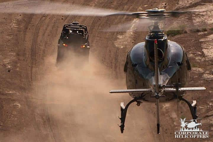 Helicopter support for off-road racing in Baja Mexico