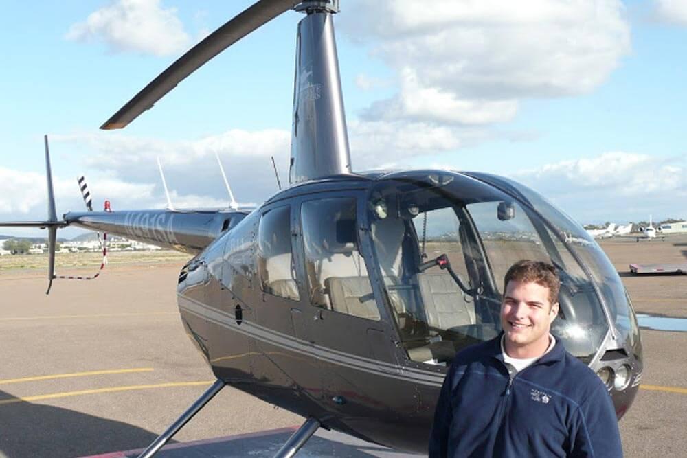 Helicopter flight school graduate