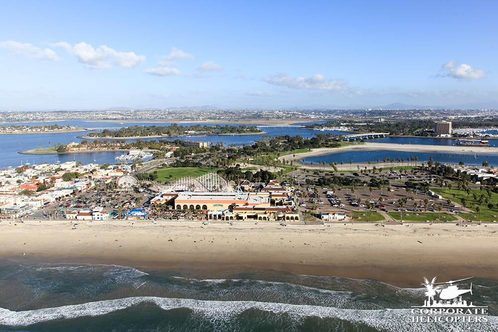 Belmont Park, Mission Bay. Helicopter tour from Corporate Helicopters of San Diego.