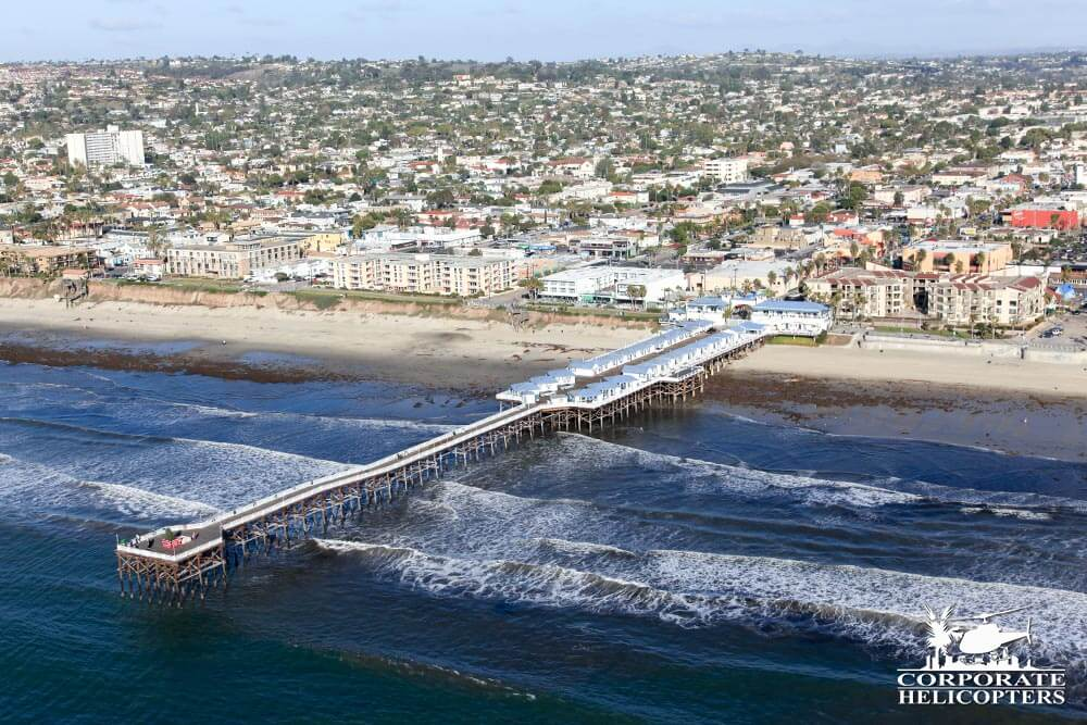 Crystal Pier, Pacific Beach. Helicopter tour from Corporate Helicopters of San Diego.