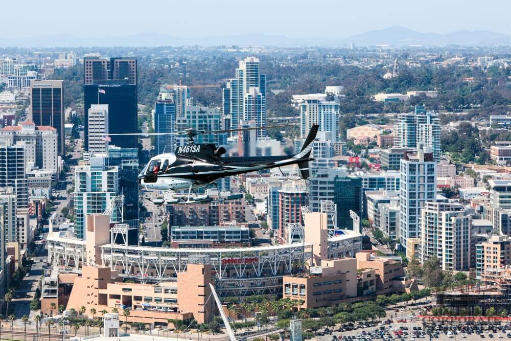 Helicopter tour from Corporate Helicopters of San Diego. Flying over Petco Park, downtown San Diego.