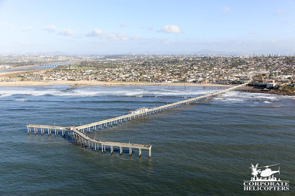 Ocean Beach Pier. Helicopter tour from Corporate Helicopters of San Diego.