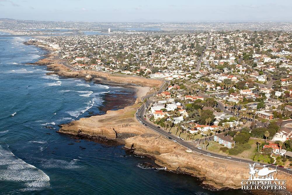 Sunset Cliffs, Ocean Beach. Helicopter tour from Corporate Helicopters of San Diego.