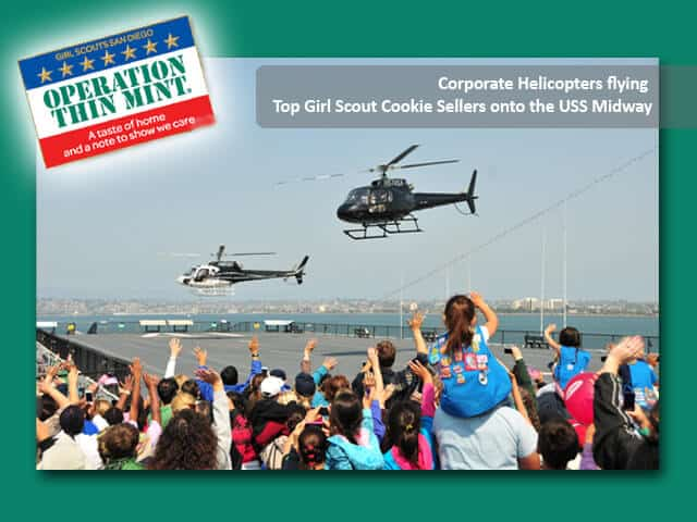 Corporate Helicopters joined in on the fun by flying two Astars full of the top cookie sellers of the year onto the Midway.