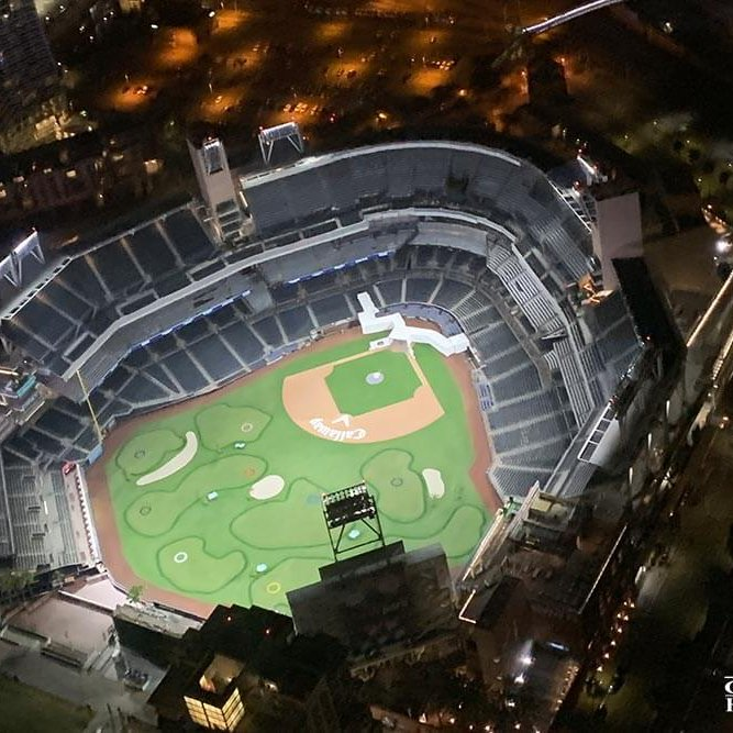 Petco Park aerial view at night