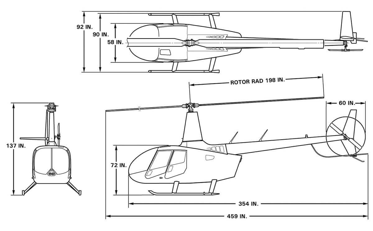 Dimensions of the Robinson R66 Turbine
