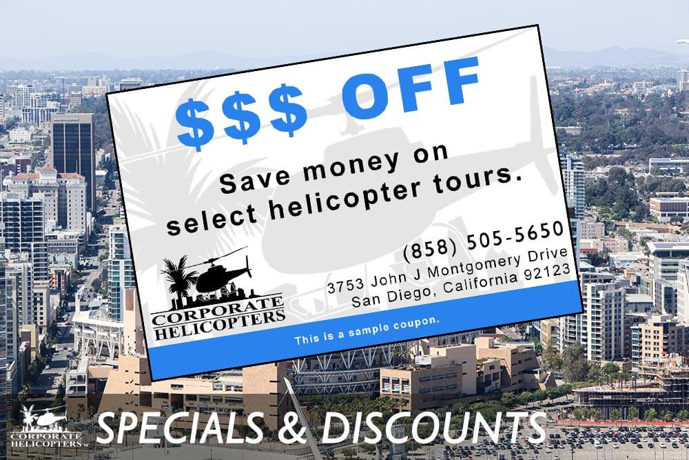 Specials and discounts on helicopter tours of San Diego from Corporate Helicopters