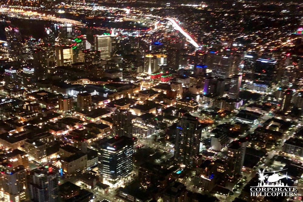 Downtown San Diego. Shot during the 'San Diego City Lights' holiday night time helicopter tour from Corporate Helicopters.