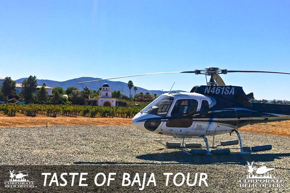 The Taste of Baja helicopter tour from Corporate Helicopters of San Diego offers a day trip to the Guadalupe wine region of Baja, departing from San Diego.
