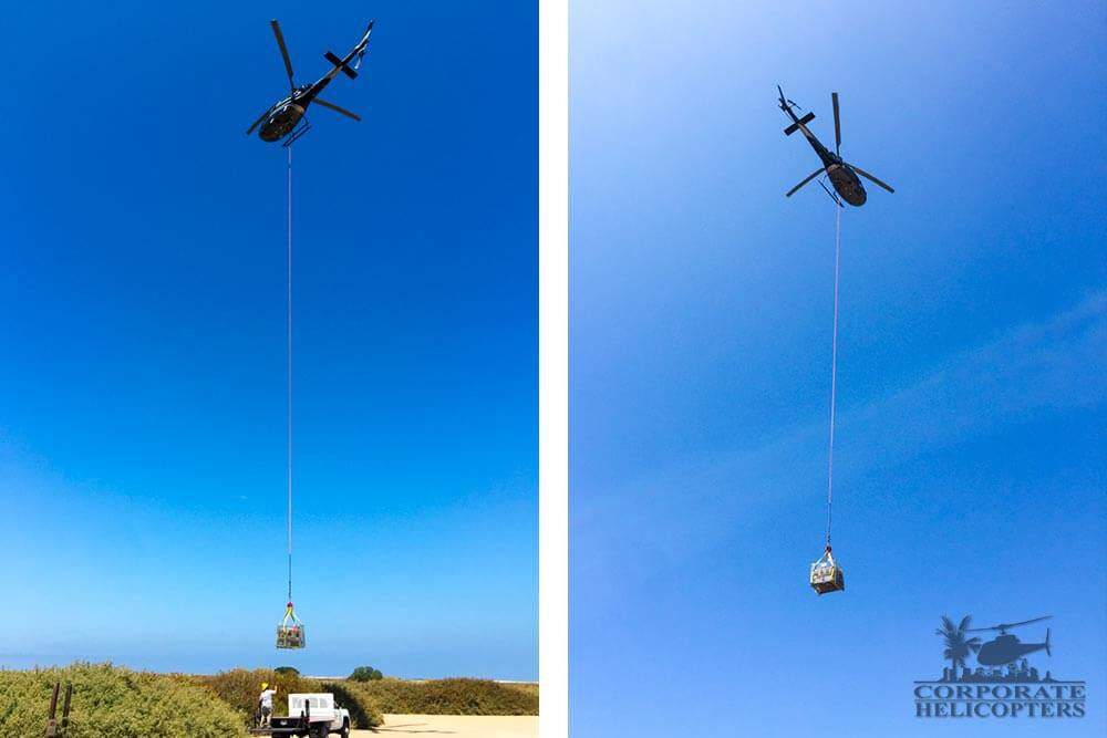 Helicopter utility lifting of batteries to Coronado Islands for Scripps radar